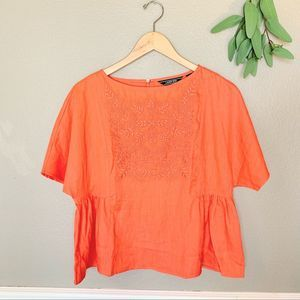 LANDS' END Coral Embroidered 100% Linen Blouse